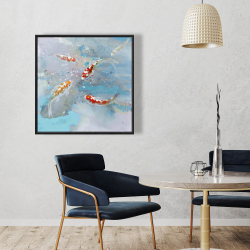 Framed 36 x 36 - Koi fish swimming in blue water