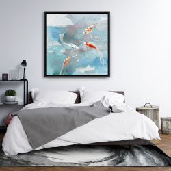 Framed 36 x 36 - Koi fish in blue water