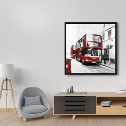 Framed 36 x 36 - Red bus in a gray street