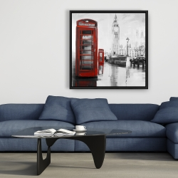 Framed 36 x 36 - Red phonebooth with the big ben