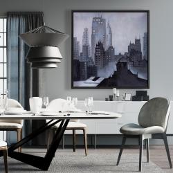 Framed 36 x 36 - Illustrative gray city