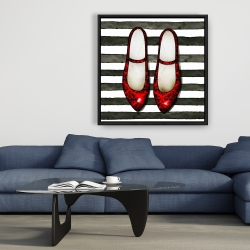 Framed 36 x 36 - Red glossy shoes on striped background