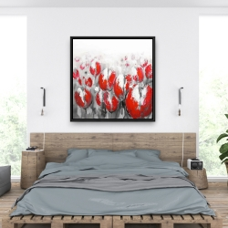 Framed 36 x 36 - Abstract red tulips
