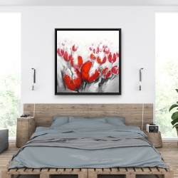 Framed 36 x 36 - Red tulips