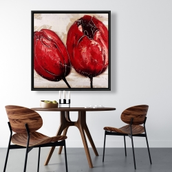 Framed 36 x 36 - Two red tulips