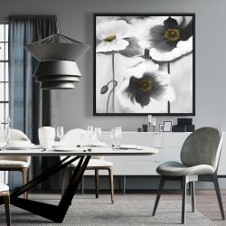 Framed 36 x 36 - Black and white flowers