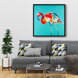Framed 36 x 36 - Abstract flamingo
