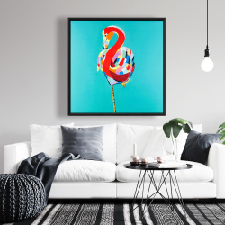 Framed 36 x 36 - Colorful flamingo