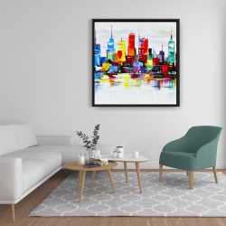 Framed 36 x 36 - Abstract and colorful city