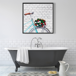 Framed 36 x 36 - Bicycle with a bouquet of tulips