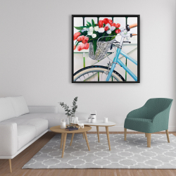 Framed 36 x 36 - Bicycle with tulips flowers in basket
