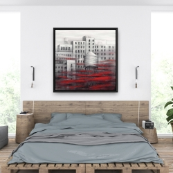 Framed 36 x 36 - Gray city with red clouds