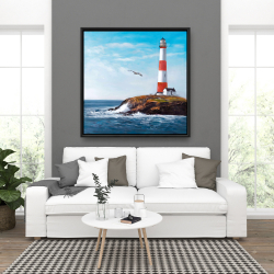 Framed 36 x 36 - Lighthouse at the edge of the sea