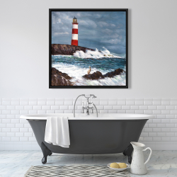 Framed 36 x 36 - Lighthouse at the edge of the sea unleashed