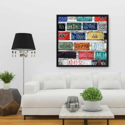 Framed 36 x 36 - Number plates