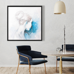 Framed 36 x 36 - Watercolor abstract girl with hair bun