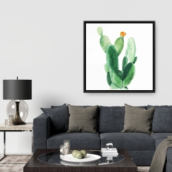 Framed 36 x 36 - Watercolor paddle cactus with flower