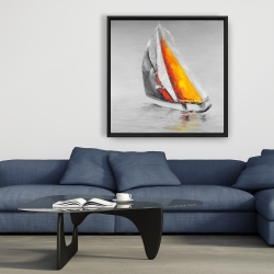 Framed 36 x 36 - Two colors sailing boat