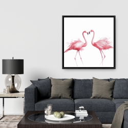 Framed 36 x 36 - Two pink flamingo watercolor