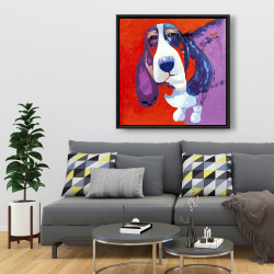Framed 36 x 36 - Abstract colorful basset dog