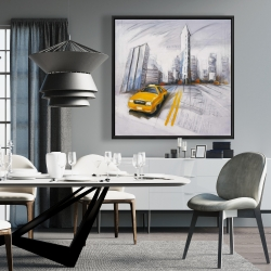 Framed 36 x 36 - Yellow taxi and city sketch