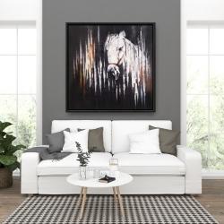 Framed 36 x 36 - White horse in the dark