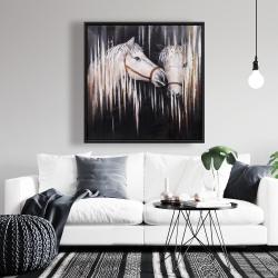 Framed 36 x 36 - Two white horses kissing