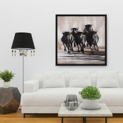 Framed 36 x 36 - Group of running bulls