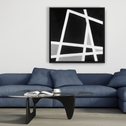 Framed 36 x 36 - Black and white abstract lines