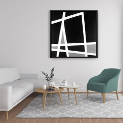 Framed 36 x 36 - Black and white abstract shapes
