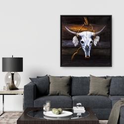Framed 36 x 36 - Hanged bull skull