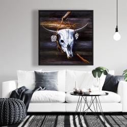 Framed 36 x 36 - Hanged skull on a wood wall