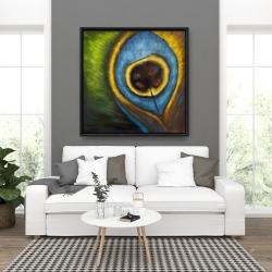 Framed 36 x 36 - Peacock feather closeup