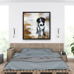 Framed 36 x 36 - Sitting dog