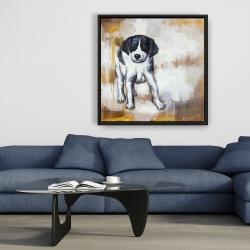 Framed 36 x 36 - Curious puppy dog