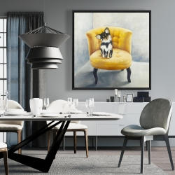 Framed 36 x 36 - Long haired chihuahua on a yellow armchair