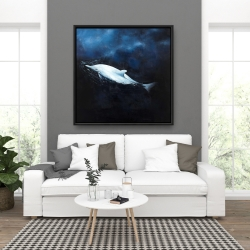 Framed 36 x 36 - Swimming dolphin