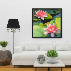 Framed 36 x 36 - Water lilies and lotus flowers