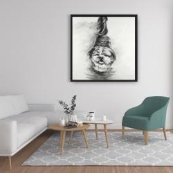 Framed 36 x 36 - Happy dog sketch