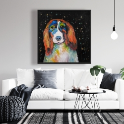 Framed 36 x 36 - Colorful dog