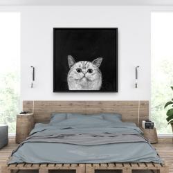 Framed 36 x 36 - Watching cat