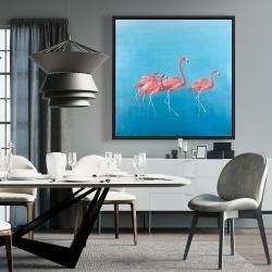 Framed 36 x 36 - Four flamingos