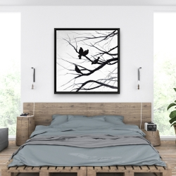 Framed 36 x 36 - Birds and branches silhouette