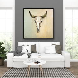 Framed 36 x 36 - Color fading bull skull