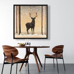 Framed 36 x 36 - Roe deer in winter