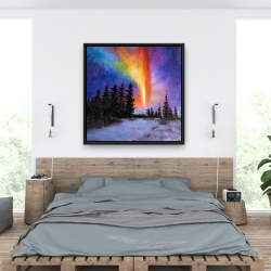 Framed 36 x 36 - Aurora borealis in the forest