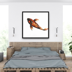 Framed 36 x 36 - Red butterfly koi fish