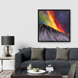 Framed 36 x 36 - Aurora borealis in the mountain