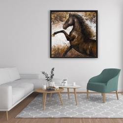 Framed 36 x 36 - Horse rushing into the soil