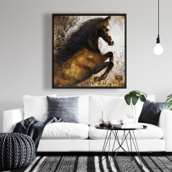Framed 36 x 36 - Horse rushing into the dust
